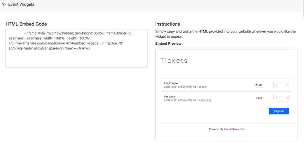 Eventsflare Ticketing Widget