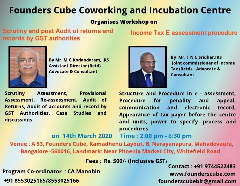 Workshop on GST Returns and IT E-Assessment Procedures