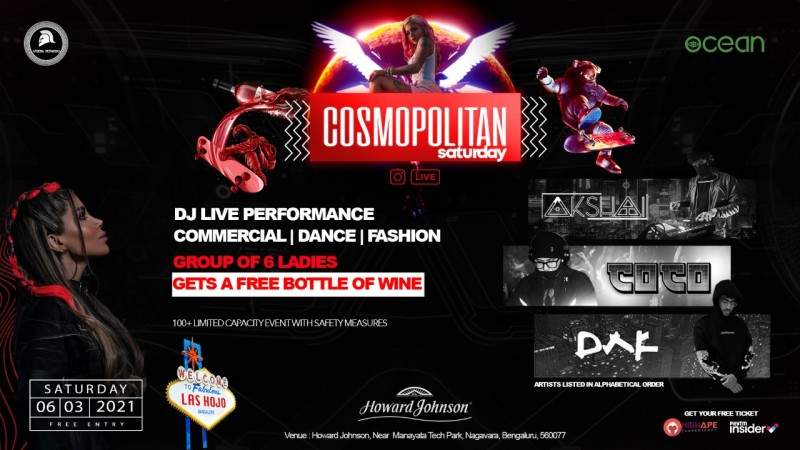 Cosmopolitan Saturday At Howard Johnson - Free Entry